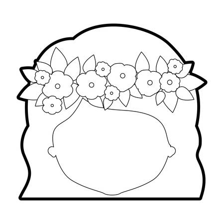 sketch silhouette of caricature faceless woman with wavy short hairstyle and crown decorate with flowers vector illustration Illustration