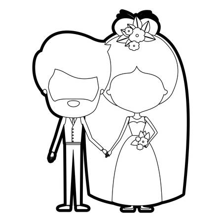 bun: sketch silhouette of caricature faceless newly married couple groom with formal wear and bride with bun hairstyle vector illustration