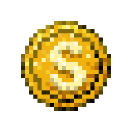 color pixelated coin with symbol vector illustration
