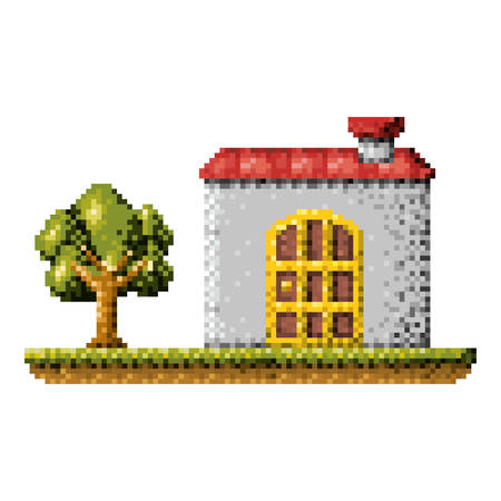 Color pixelated house in meadow with tree vector illustration Illustration
