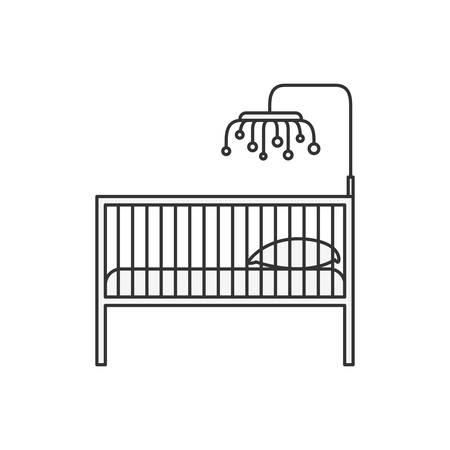 Sketch silhouette of baby crib with wood railing vector illustration.