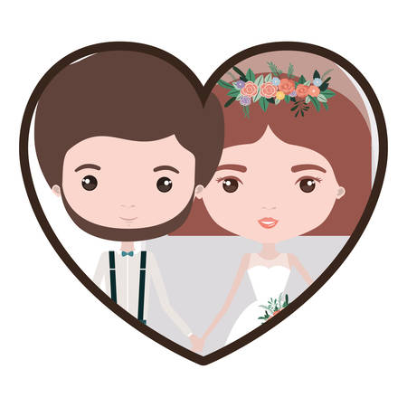Colorful heart shape portrait with caricature newly married couple groom with formal wear and bride with straight short hairstyle vector illustration Illustration