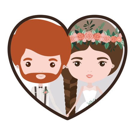 Colorful heart shape portrait with caricature newly married couple groom with formal wear and bride with braids hairstyle vector illustration