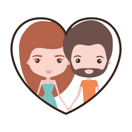 boy long hair: Colorful heart shape portrait with caricature couple of her with dress and long red hair and him with brown hair and beard vector illustration