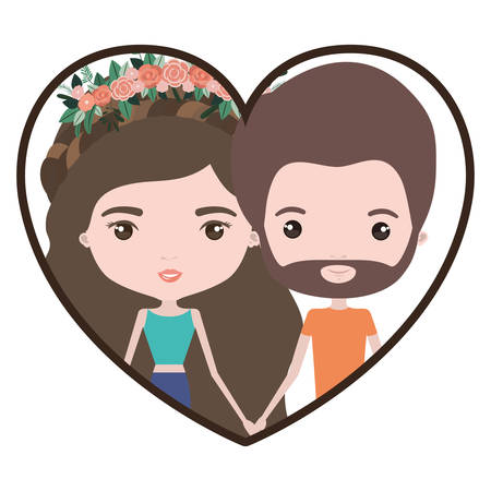 Colorful heart shape portrait with caricature couple of her in pants with brown and long wavy hair with floral crown and him with brown hair and beard vector illustration