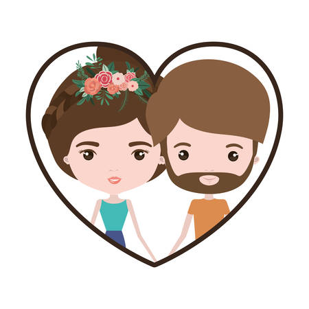 Colorful heart shape portrait with caricature couple and both with brown hair and her with collected hair and floral crown and him with beard vector illustration Illustration