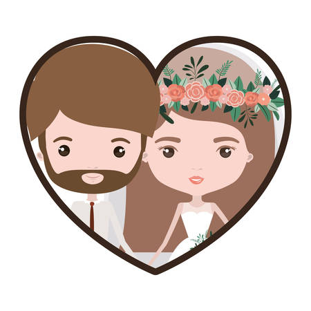 colorful heart shape portrait with caricature newly married couple bearded groom with formal wear and bride with straight medium hairstyle vector illustration