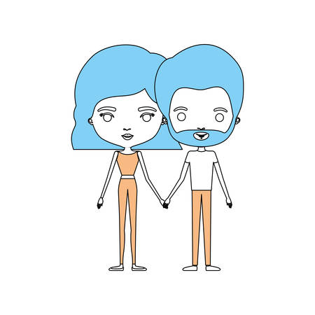 and two friends: Color sections silhouette caricature thin couple in clothes of bearded man and woman with wavy short hairstyle holding hand Illustration