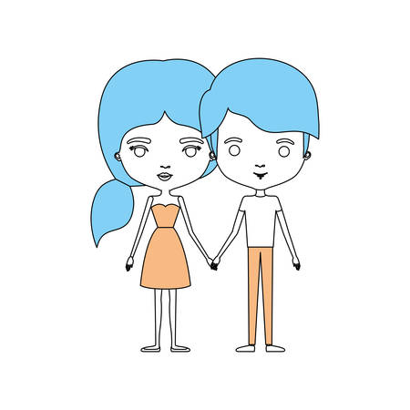Farbe Abschnitte Silhouette Karikatur Dünnes Paar In Kleidung Von ...