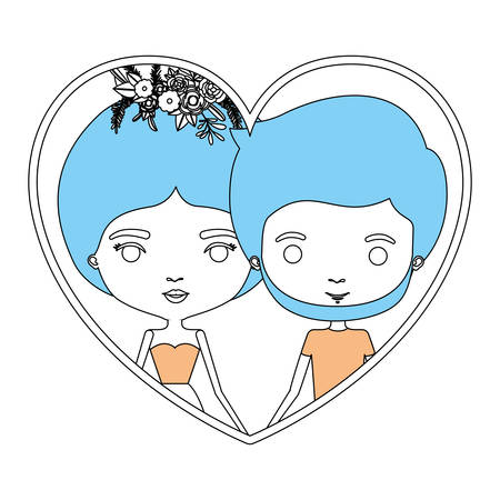 color sections silhouette heart shape portrait with caricature couple and her in dress with collected hair and floral crown and him bearded vector illustration Illustration