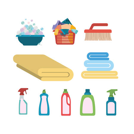 white background of colorful set elements of laundry and cleaning items vector illustration Illustration