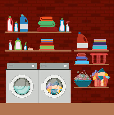 platon: brick wall background of clothes with wash machines and elements of home laundry vector illustration