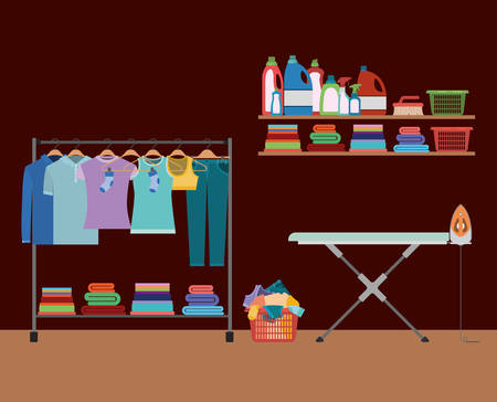 hangers: brick wall background of clothes in hangers with table and clothes iron and elements of home laundry vector illustration