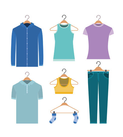 sleeve: white background of colorful set elements clothes in hangers vector illustration Illustration