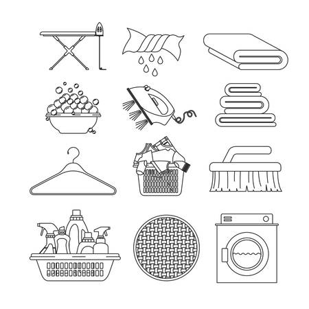 platon: white background of contour set elements of laundry and cleaning items of wash machine vector illustration