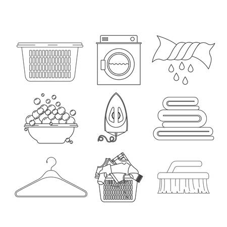platon: white background of silhouette set elements of laundry and cleaning items of wash machine vector illustration Illustration
