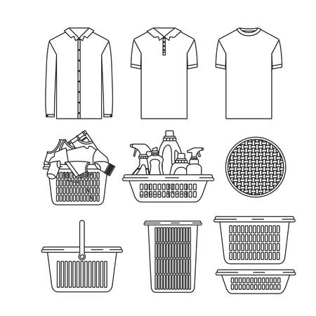 white background of silhouette set elements of laundry and cleaning items with clothes and plastic basins vector illustration Illustration