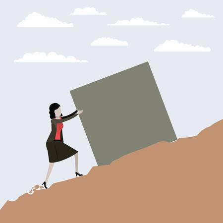 color scene rock landscape with business woman pushing a block vector illustration Ilustração Vetorial
