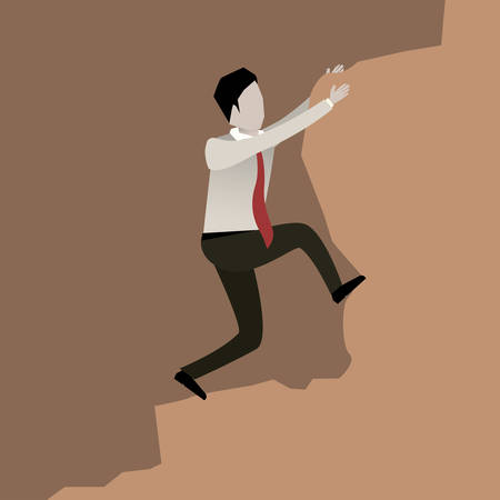 business scene: color scene rock with businessman trying to climb a stone vector illustration