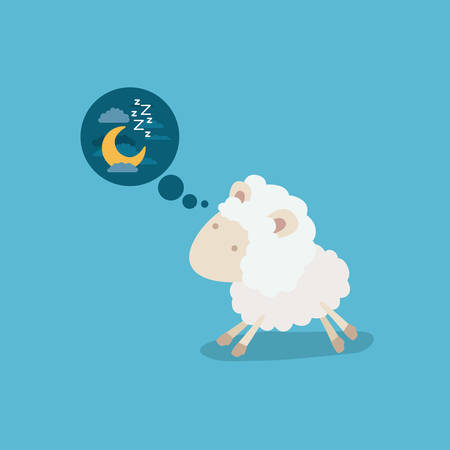 color background of cute sheep thinking in the night vector illustration