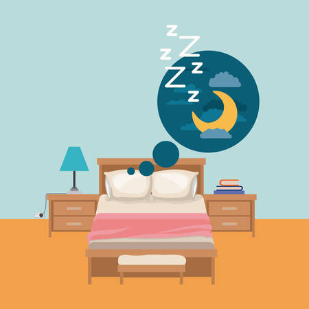 duvet: color background of bedroom with dreaming in the night vector illustration
