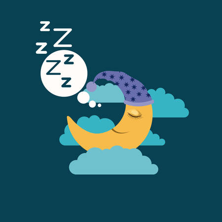 color background of moon with sleeping cap dreaming in the night landscape vector illustration Illustration