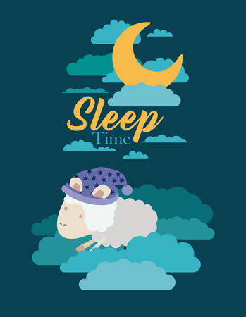 color poster scene night landscape of sleep time with sheeps in the clouds vector illustration