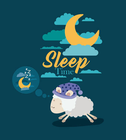 color poster scene sky landscape of sleep time with sheeps thinking in the night vector illustration Illustration