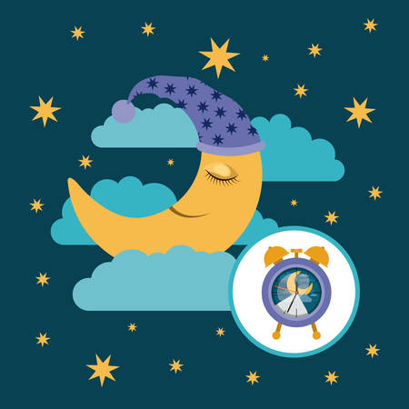 color poster scene sky landscape of moon with sleeping cap dreaming and alarm clock icon vector illustration Illustration
