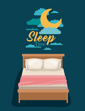 color poster scene night landscape of bed sleep time vector illustration