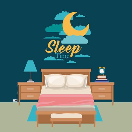 duvet: color poster scene night landscape of cute bedroom sleep time vector illustration