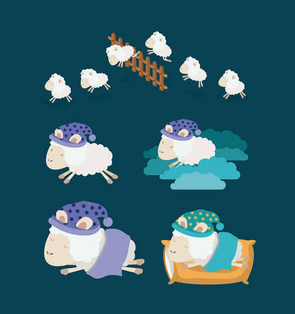 color background with set sheep sleep time icons vector illustration Çizim