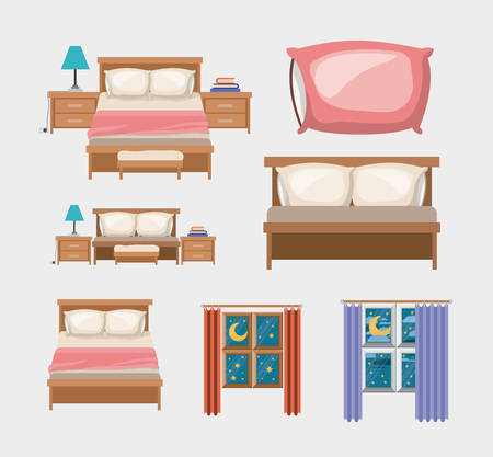 color background with bedroom and elements home vector illustration