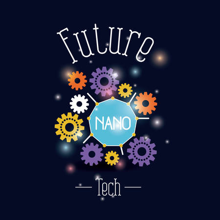 color background with brightness of future tech nano gears vector illustration