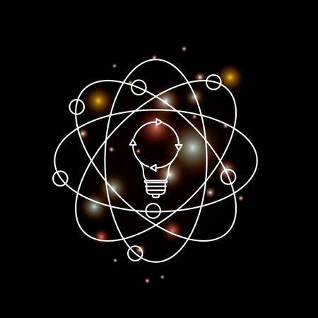 black background with brightness of silhouette light bulb and atom aroud vector illustration Illustration