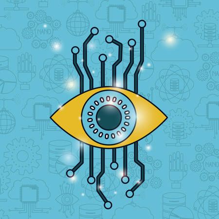 color pattern background of future tech with eye cyber security vector illustration Illustration