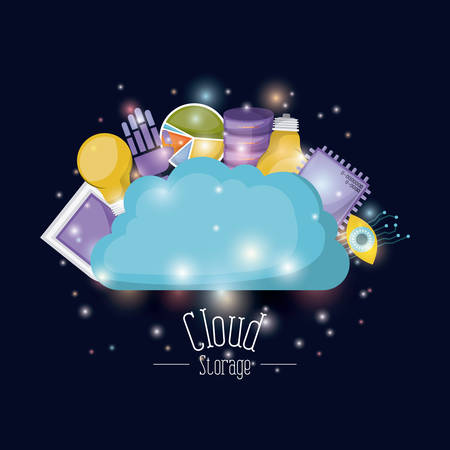 color dark blue background with brightness of colorful cloud storage and elements future tech vector illustration