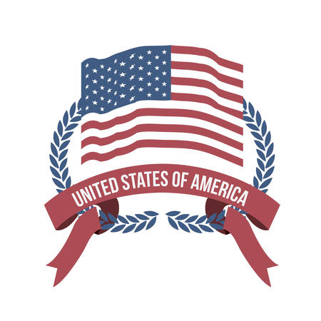 intertwined: white background of light color flag united states of america with half crown of olive branches and label tape intertwined vector illustration