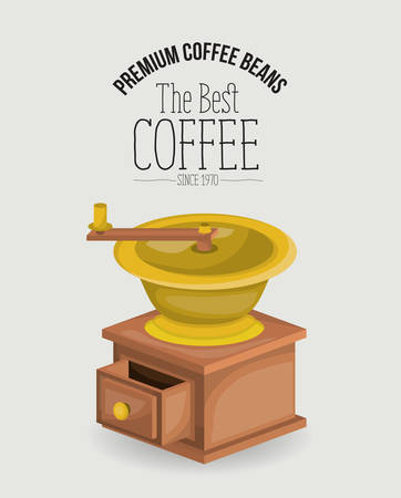 white poster of premium coffee beans of the best coffee since 1970 with coffee grinding with crank vector illustration