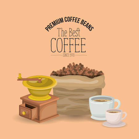 color poster of premium coffee beans of the best coffee since 1970 with set bag porcelain cups and grinding with crank vector illustration