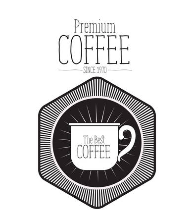diamond plate: white background of text premium coffee beans since 1970 and logo design of diamond shape decorative frame with silhouette mug the best coffee vector illustration