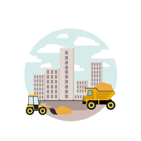 City landscape and dump truck vector illustration. Illustration