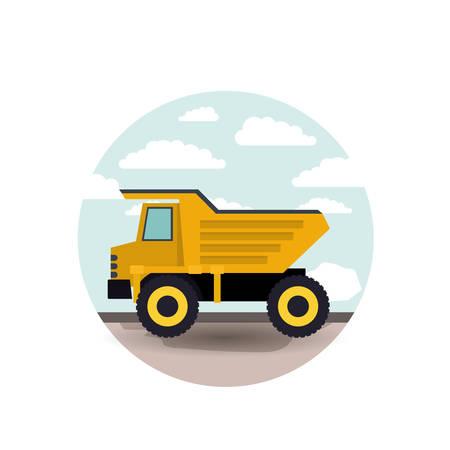 dumping: Dump truck vector illustration Illustration