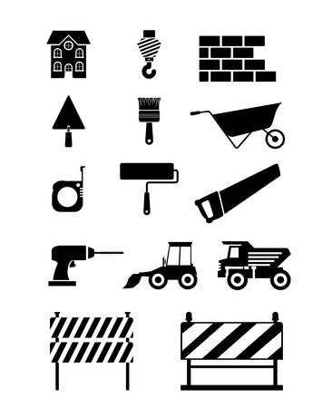 drill: Set of silhouette monochrome tools for construction vector illustration