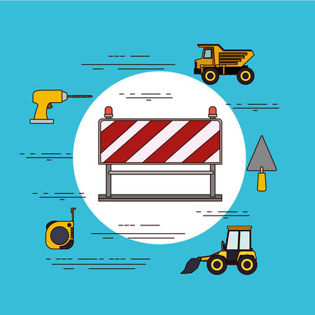 color background circular frame with traffic barrier in red and white stripes with tools for construction vector illustration