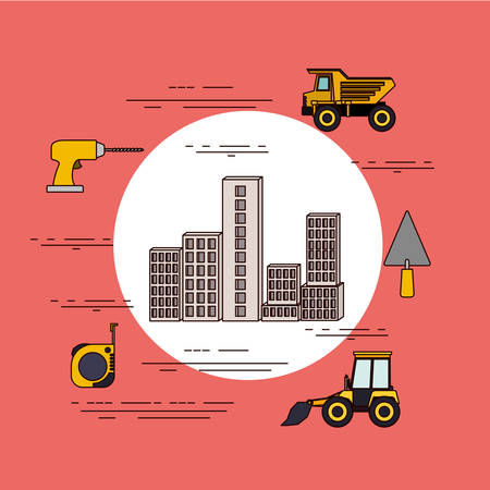 office building: Circular frame of set building under constructions with tools for repair vector illustration