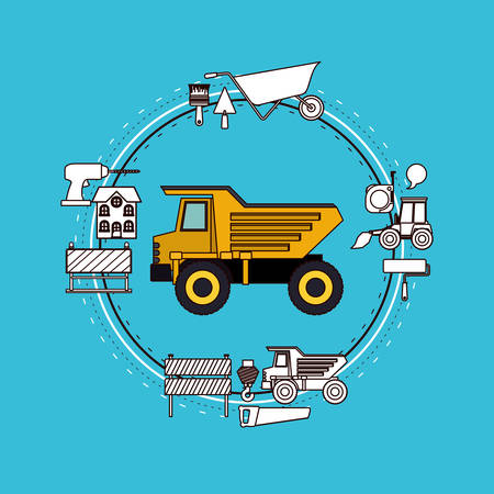 earthmover: Color background circular frame with dumb truck and tools for construction around vector illustration Illustration