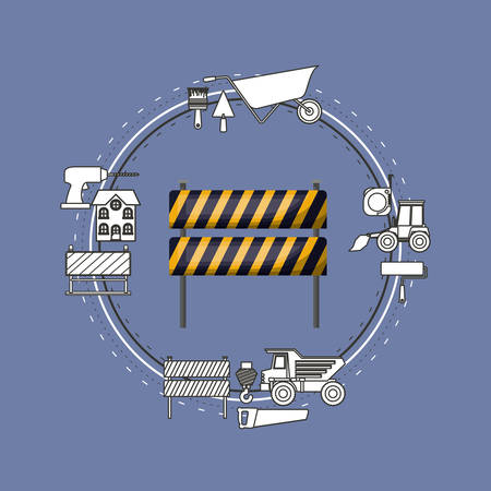 earthmover: Color background circular frame with traffic barrier with yellow and black stripes and tools for construction around vector illustration Illustration