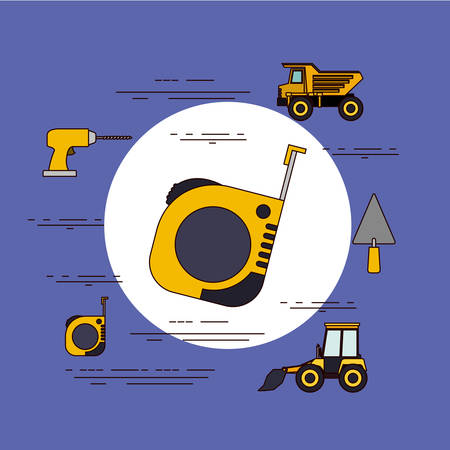 dumb: Color background circular frame with measuring tape and tools for construction around vector illustration Illustration