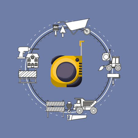 earthmover: Color background circular frame with measuring tape and elements for construction around vector illustration Illustration